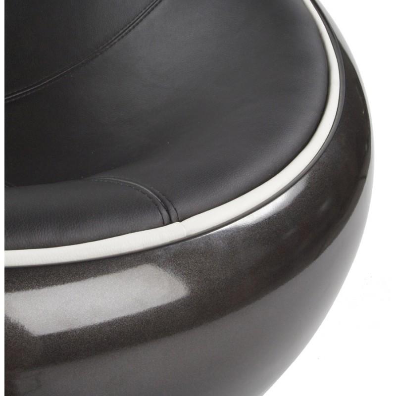 BOULE Sillón moderno de corte minimalista giratorias pies ajustables (negro) - image 15227