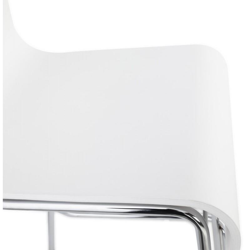 Tabouret design carré mi-hauteur SAMBRE en bois et métal chromé (blanc) - image 16074