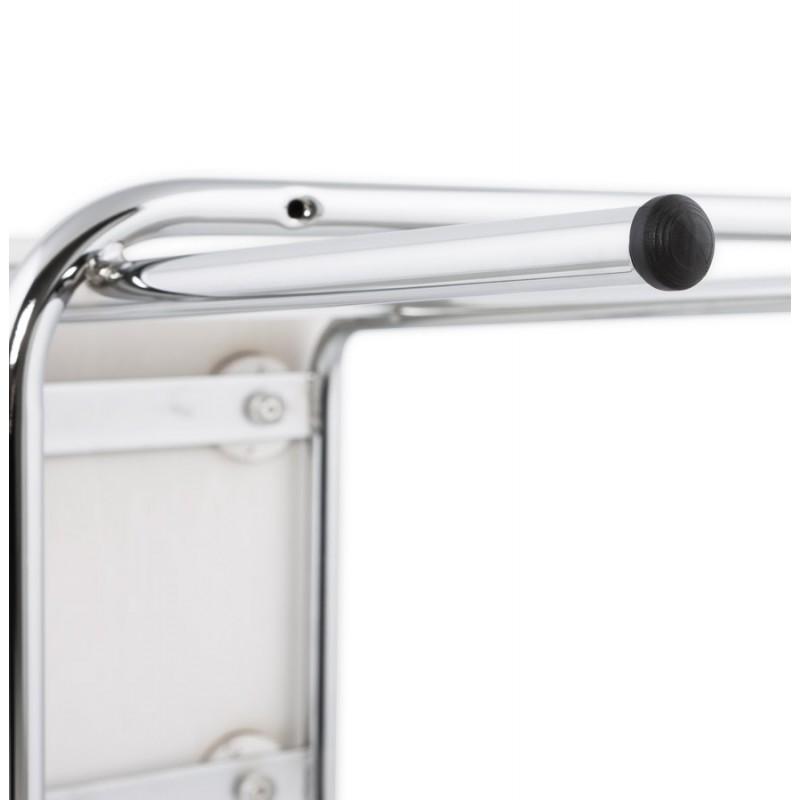 Tabouret design carré mi-hauteur SAMBRE en bois et métal chromé (blanc) - image 16076