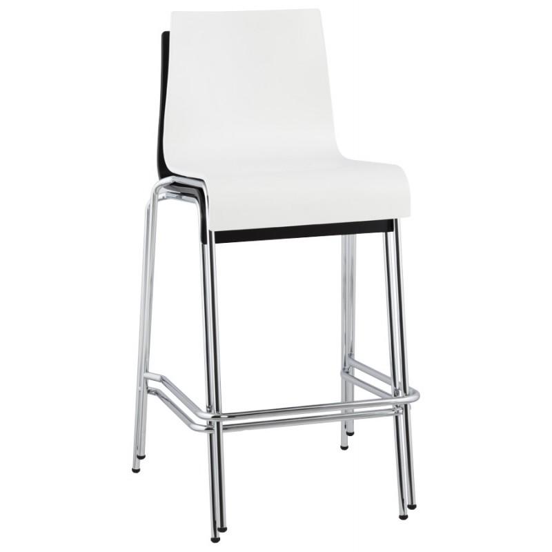 Tabouret design carré mi-hauteur SAMBRE en bois et métal chromé (blanc) - image 16078