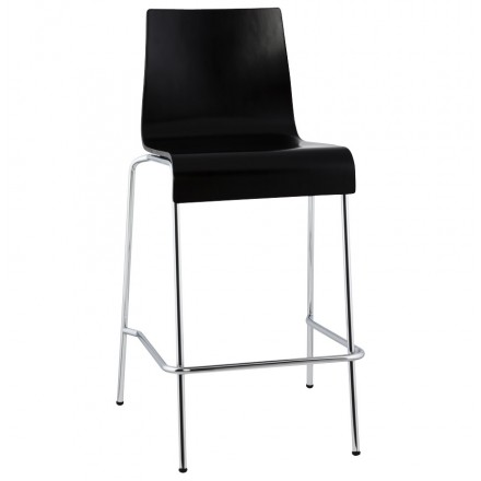 Square design stool SAMBRE in wood and chrome metal (black)