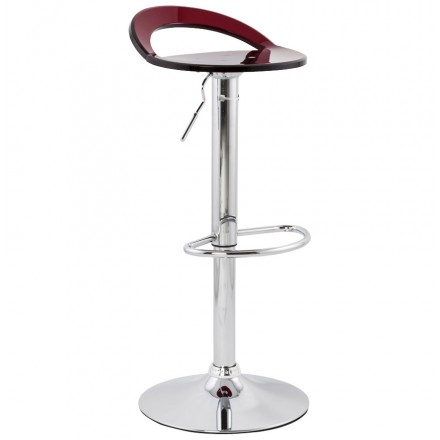 MOSELLE stool round design in ABS (high-strength polymer) and chrome metal (red)