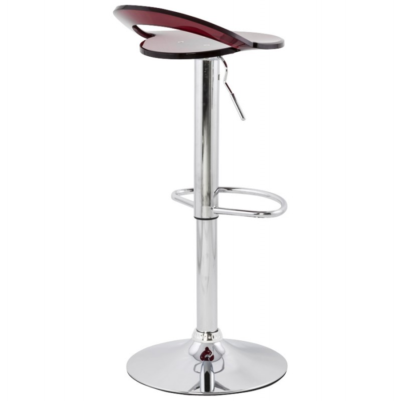 MOSELLE stool round design in ABS (high-strength polymer) and chrome metal (red) - image 16133