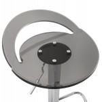Sgabello rotondo design MOSELLE in ABS (polimero ad alta resistenza) e cromo metallo (affumicato)