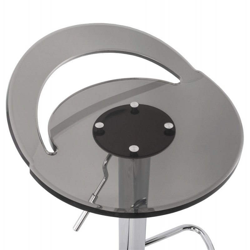 MOSELLE stool round design in ABS (high-strength polymer) and chrome metal (smoked) - image 16145