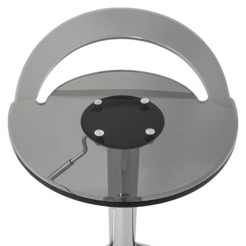 MOSELLE stool round design in ABS (high-strength polymer) and chrome metal (smoked) - image 16146