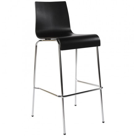 SAONE wood and chromium-plated metal stool (black)