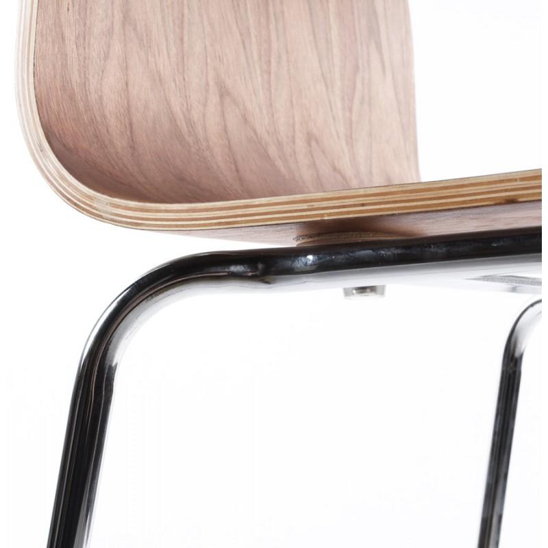 Tabouret de bar SAONE en bois et métal chromé (noyer) - image 16165