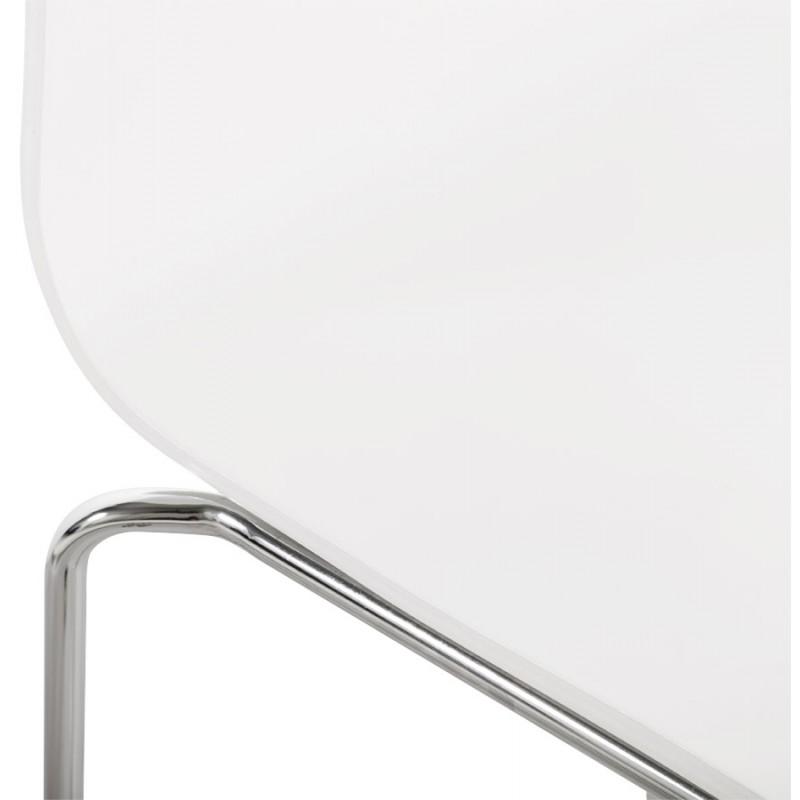 Tabouret de bar SAONE en bois et métal chromé (blanc) - image 16173