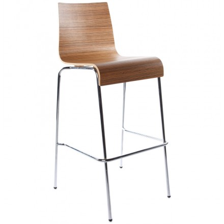 SAONE stool made of wood and chrome metal (zebrano)