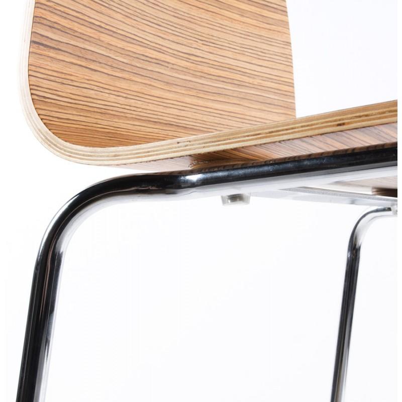 Taburete SAONE hecha de madera y metal cromado (zebrano)