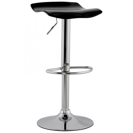 LYS Stool round design in ABS (high-strength polymer) and chrome metal (black)