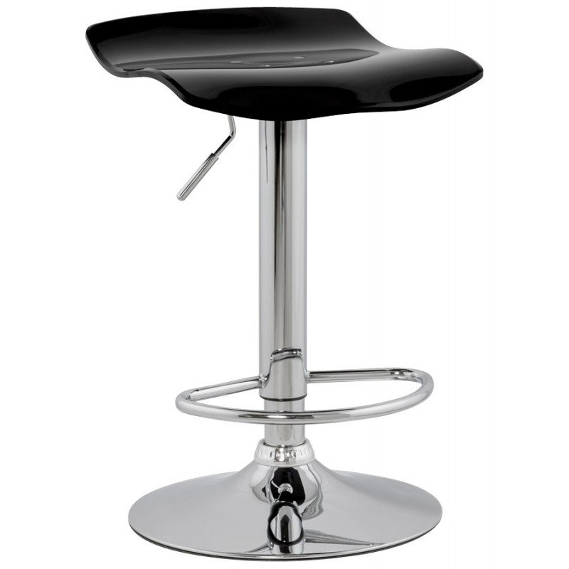 LYS Stool round design in ABS (high-strength polymer) and chrome metal (black) - image 16191