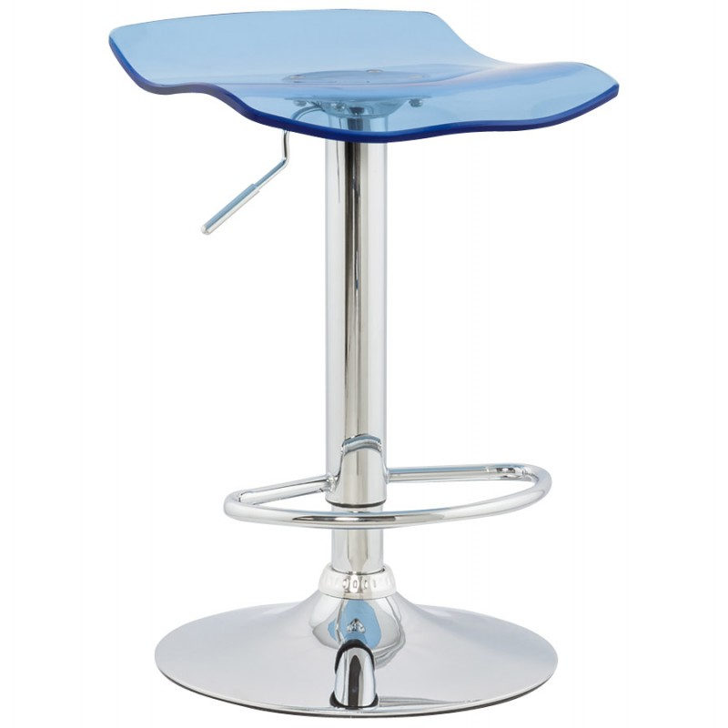 LYS Stool round design in ABS (high-strength polymer) and chrome metal (blue) - image 16204