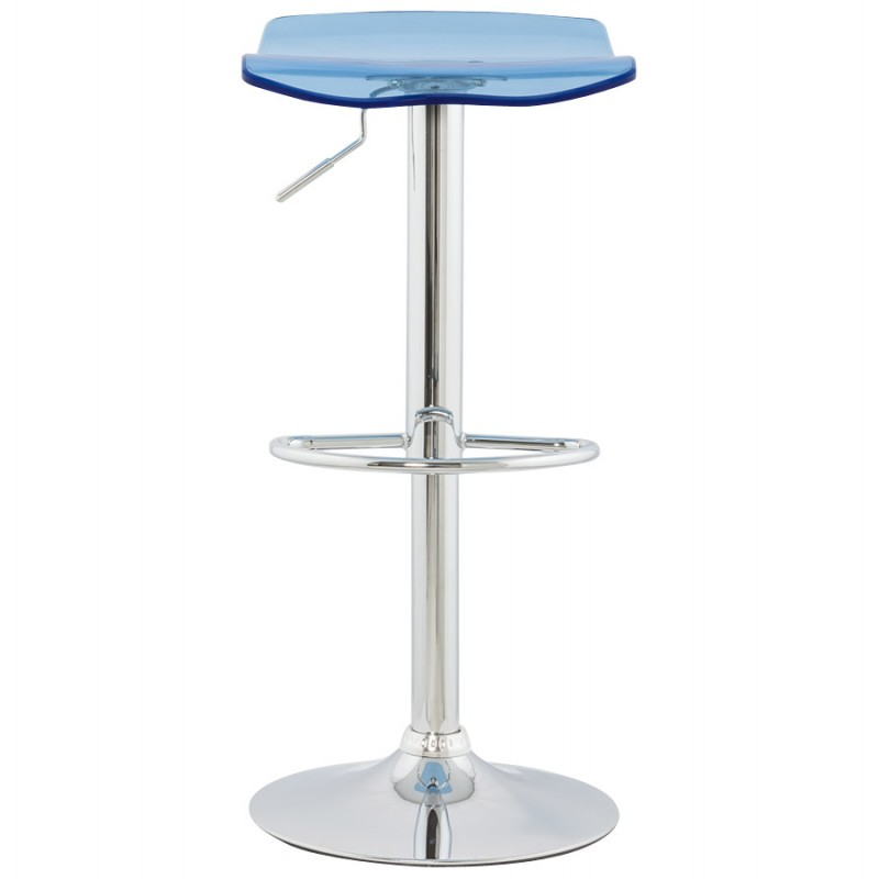 LYS Stool round design in ABS (high-strength polymer) and chrome metal (blue) - image 16205