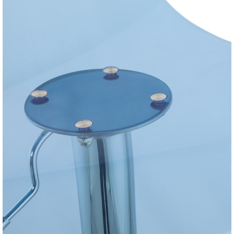 LYS Stool round design in ABS (high-strength polymer) and chrome metal (blue) - image 16209