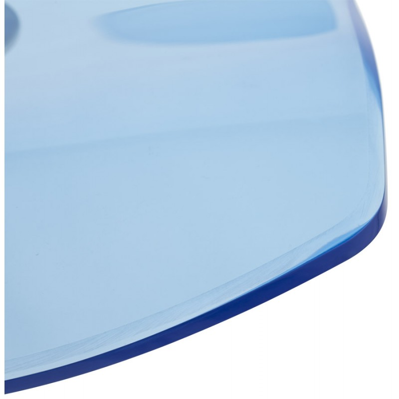 LYS Stool round design in ABS (high-strength polymer) and chrome metal (blue) - image 16210