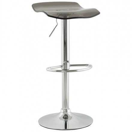 LYS Stool round design in ABS (high-strength polymer) and chrome metal (smoked)