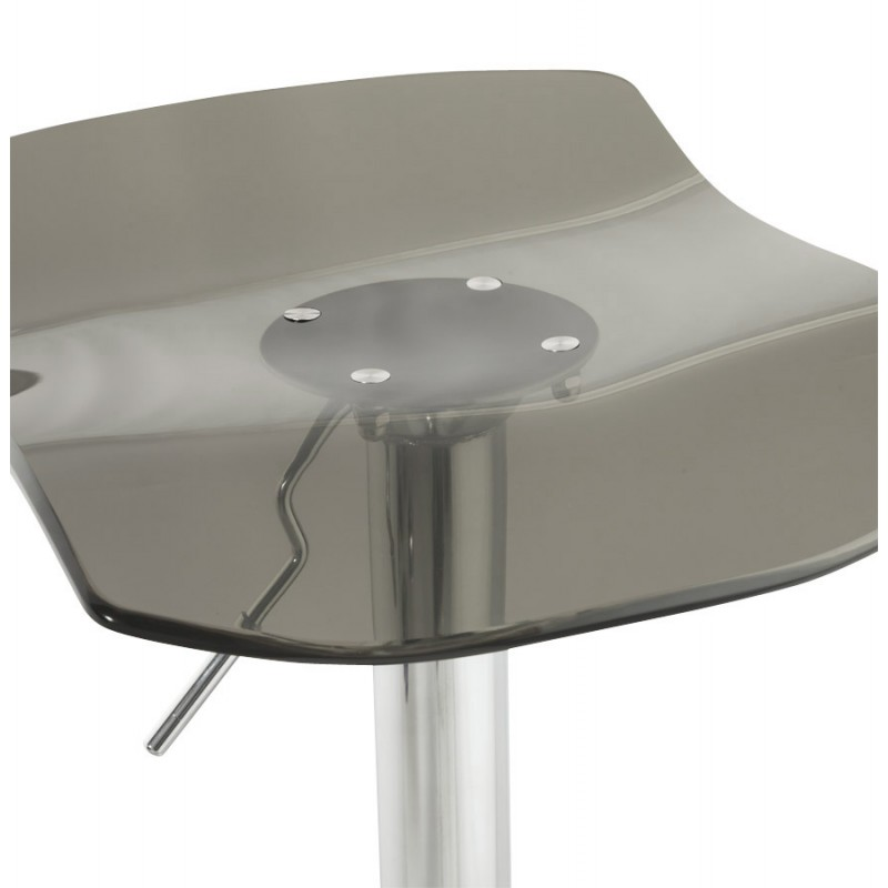 LYS Stool round design in ABS (high-strength polymer) and chrome metal (smoked) - image 16225