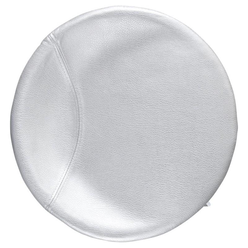 Tabouret design DOUBS en simili cuir et acier brossé inoxydable (argent) - image 16341