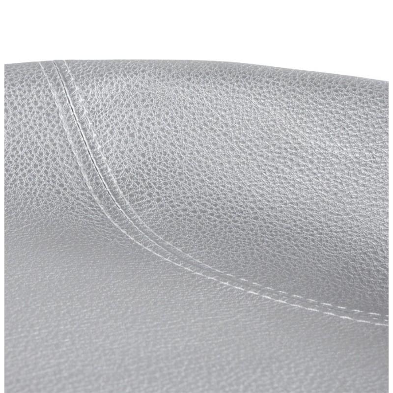 Tabouret design DOUBS en simili cuir et acier brossé inoxydable (argent) - image 16343