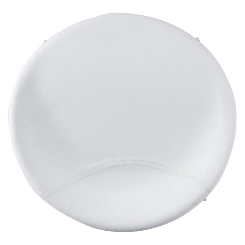 Tabouret design DOUBS en simili cuir et acier brossé inoxydable (blanc) - image 16350