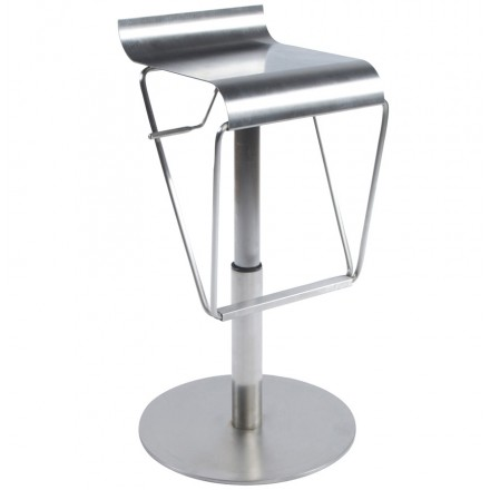 MAINE Square design stool brushed stainless steel (steel)