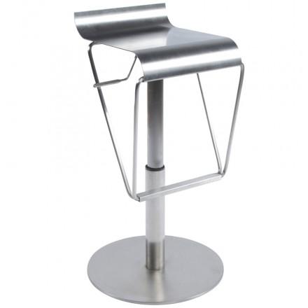 Sgabello design MAINE quadrato grezzo spazzolato dell'acciaio inossidabile (acciaio)