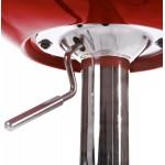Hocker ALLIER Runde in ABS (hochfesten Polymer) und Chrom Metall (rot)