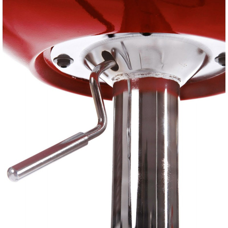 ALLIER Stool round in ABS (high-strength polymer) and chrome metal (red) - image 16598