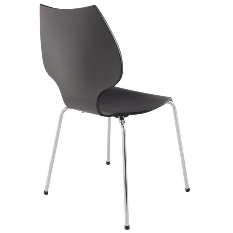 Chaise design agout peinte en bois ou d riv et m tal for Chaise noir et bois