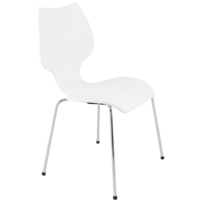 Chaise design AGOUT peinte en bois ou dérivé et métal chromé (blanc)