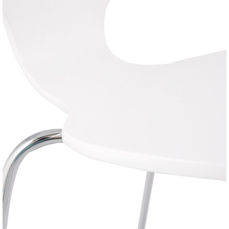 AGOUT Design chair painted wood or derived and chrome metal (white) - image 16676