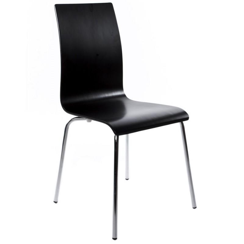 Chaise polyvalente OUST en bois ou dérivé et métal chromé (noir) - image 16679