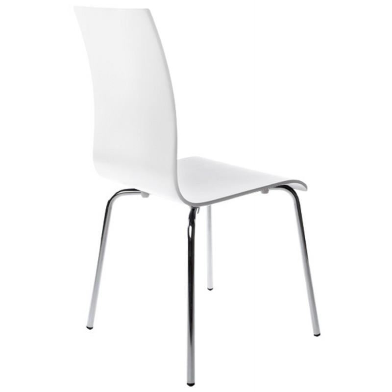 Chaise polyvalente OUST en bois ou dérivé et métal chromé (blanc) - image 16686