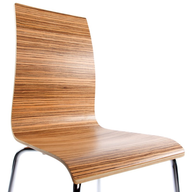 Versatile Chair wood or derived and chrome metal (zebrano)