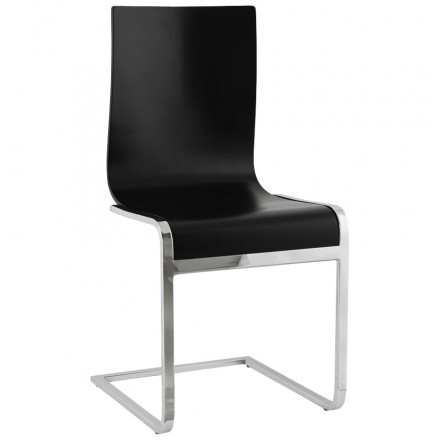 DURANCE Modern Chair wood and chrome metal (black)