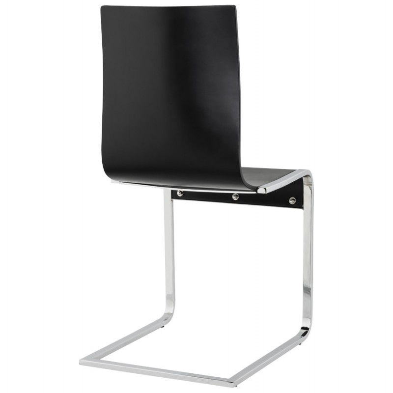 DURANCE Modern Chair wood and chrome metal (black) - image 16702