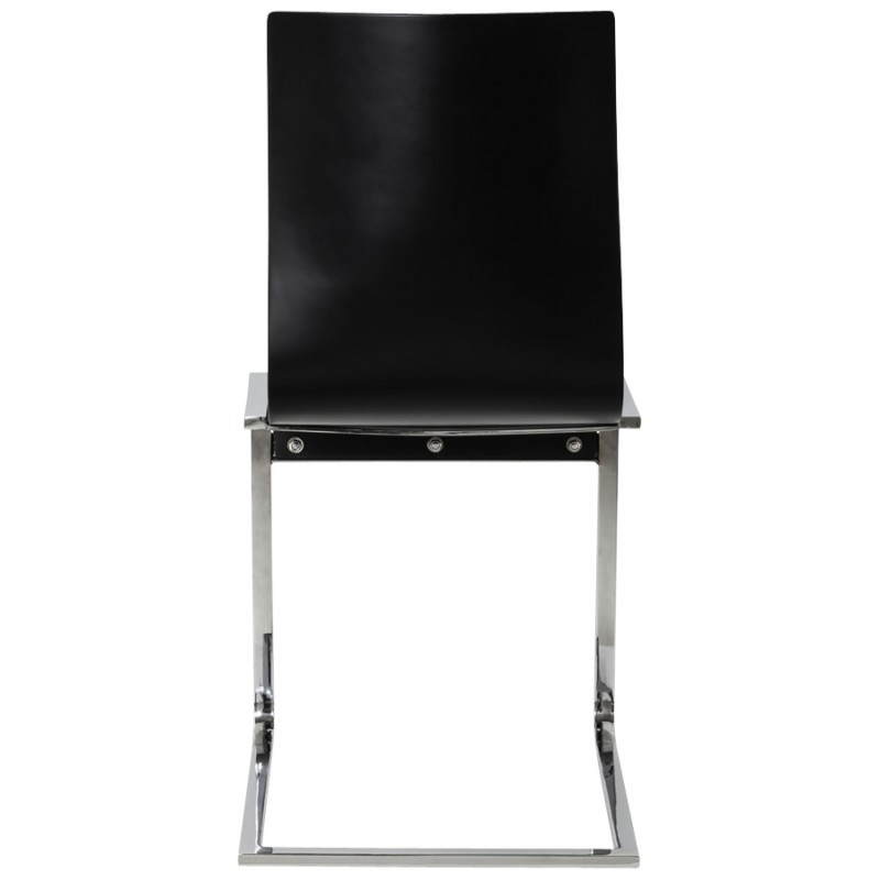 DURANCE Modern Chair wood and chrome metal (black) - image 16703