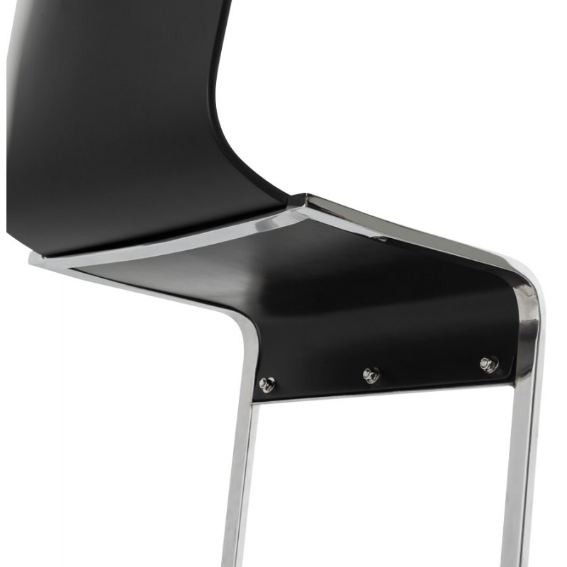 DURANCE Modern Chair wood and chrome metal (black) - image 16706