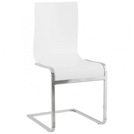 Moderner Stuhl Holz DURANCE und Chrom Metall (weiß)