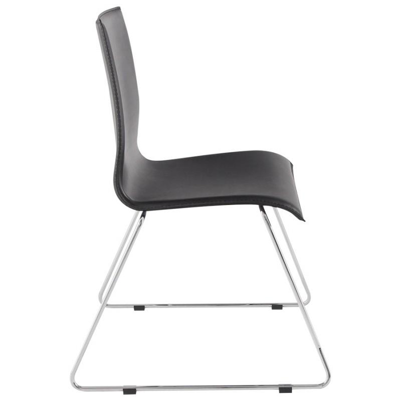 Stuhl design somme in polyurethan und verchromtes metall for Stuhl design metall