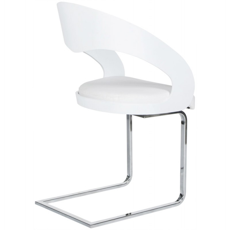 Chaise contemporaine loing blanc for Chaise en cuir blanc