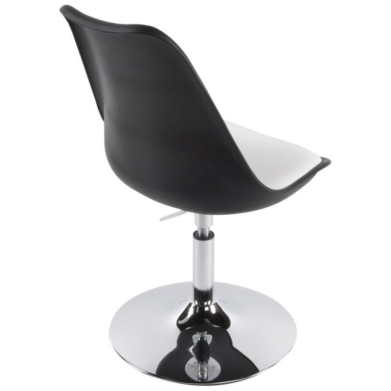 Chaise design aisne rotative et r glable noir et blanc - Chaise noir et blanc design ...