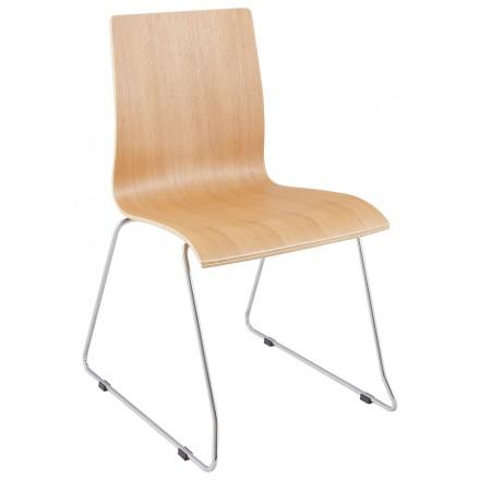 Sedia contemporaneo BLAISE in legno e metallo cromato (legno naturale)