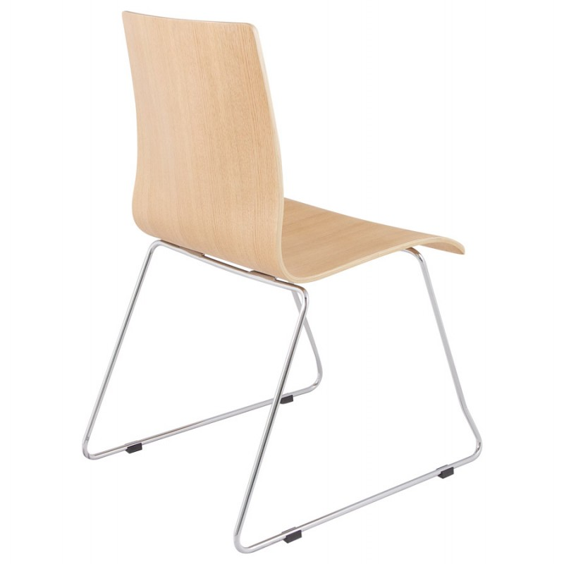 BLAISE contemporary chair in wood and chrome metal (natural wood) - image 16823