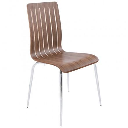 Chaise contemporaine SORGUE en bois et métal chromé (noyer)