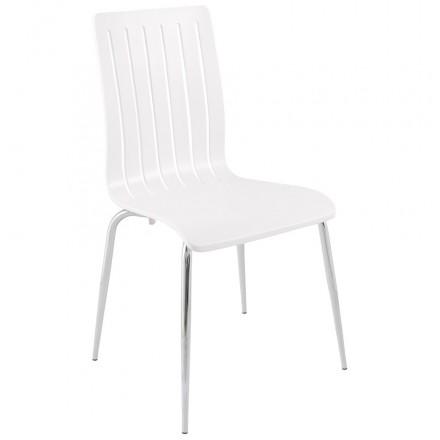 Chaise contemporaine SORGUE en bois et métal chromé (blanc)