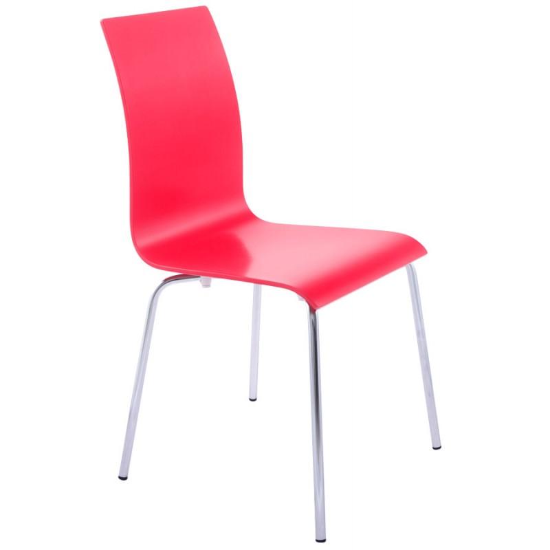 Sedia versatile legno OUST e metallo cromato (rosso) - image 16876
