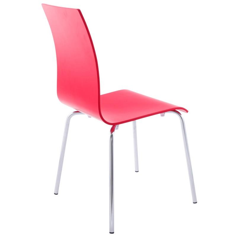 chaise polyvalente oust en bois et m tal chrom rouge. Black Bedroom Furniture Sets. Home Design Ideas